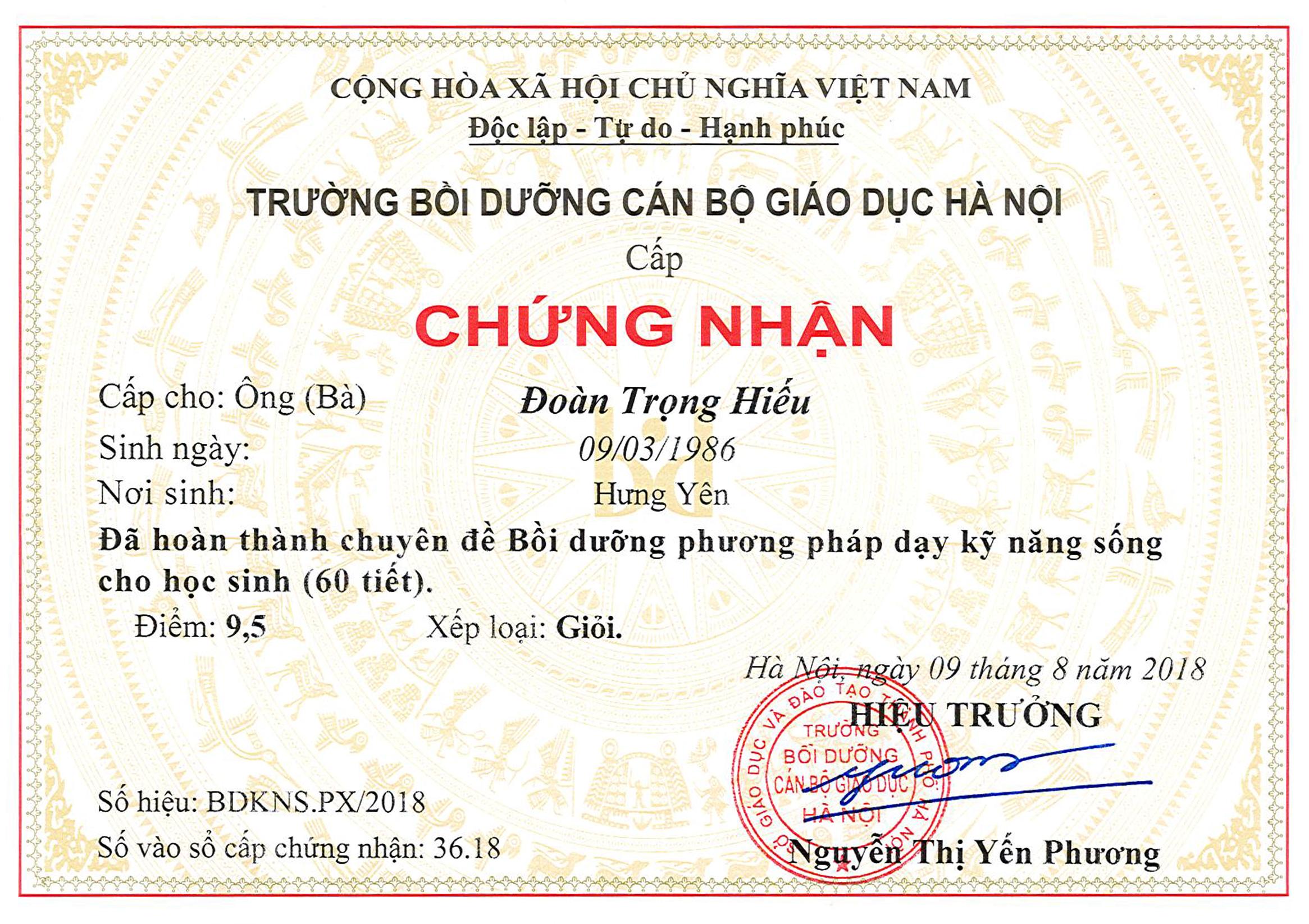 Chung chi Hieu DT